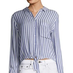 Rails Val Blue Striped Tie Front Long Sleeve Top